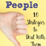 Pin image for dealing with negative people. Thumbs down on yellow background with text.