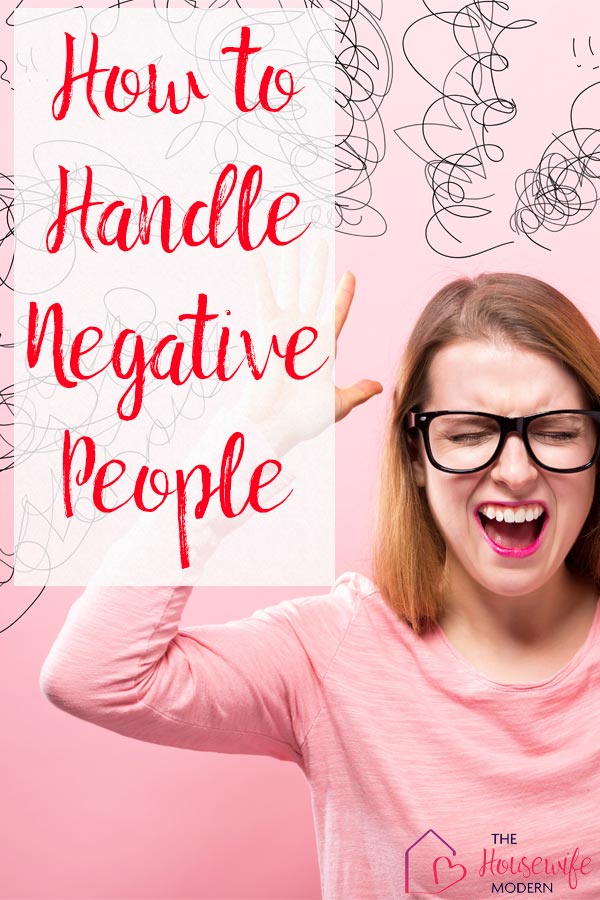 Pin image for dealing with negative people. Frustrated women with pink background and text overlay.