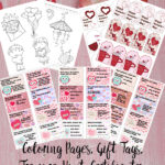 pin image for free valentine's day printables. preview of printables and text overlay.