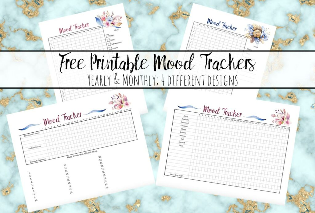 Featured image for free printable mood trackers. Marble background, preview of all four mood trackers, and text overlay.