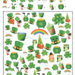 Free printable St. Patrick's Day I Spy game. Number of items already counted, just find them.