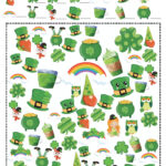 Free printable St. Patrick's Day I Spy game. Find how many of each item are on the board.
