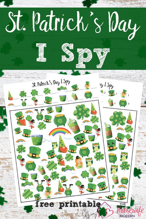 Pin image for free printable St. Patrick's Day I Spy. White boards with green clover background with images of games and text overlay.