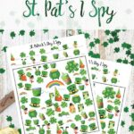 Pin image for free printable St. Patrick's Day I Spy. St. Pat's background (clover, gold, green hat) with images of games and text overlay.