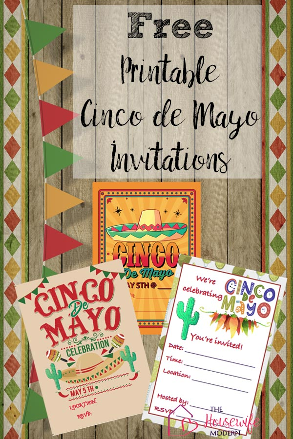 Start the fiesta off right with free printable Cinco de Mayo invitations. 3 different designs. Just print, fill in your details, and send! (Pin image)