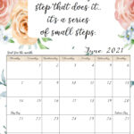 FREE Printable 2021 Monday Start Monthly Motivational Calendars. Space for setting goals, different motivational quote each month, holidays marked.