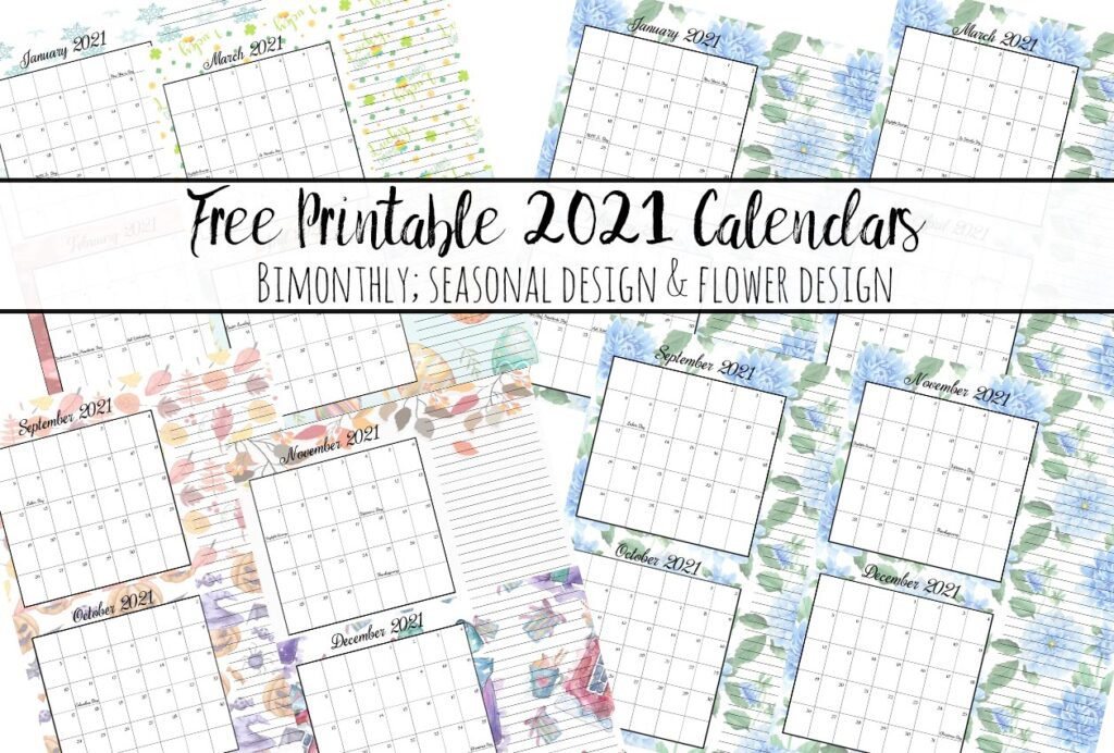 Free Printable 2021 Bimonthly Calendars with Holidays: 2 Designs
