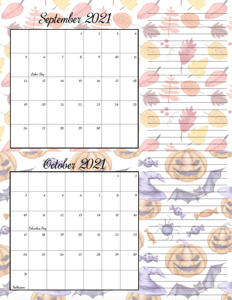 FREE Printable 2021 Bimonthly Calendars. Space for notes, holidays marked. 2 different designs!