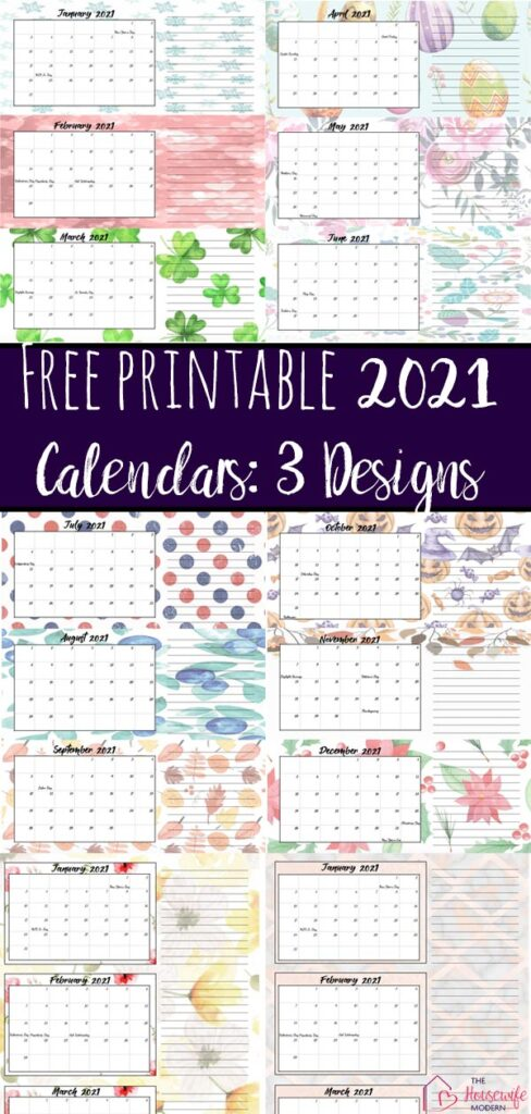 Free Printable 2021 Quarterly Calendars with Holidays: 3 Designs. Holiday theme, bright and floral theme, and classic elegant theme- choose which works for you!