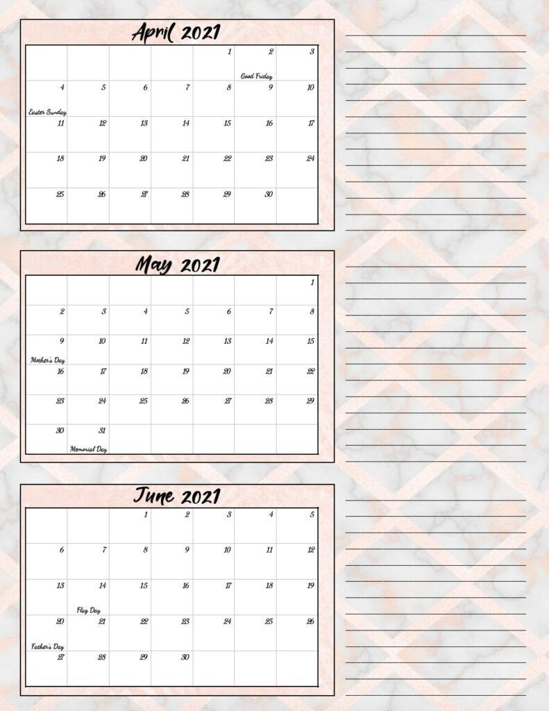 Free Printable 2021 Quarterly Calendars with Holidays: 3 ...