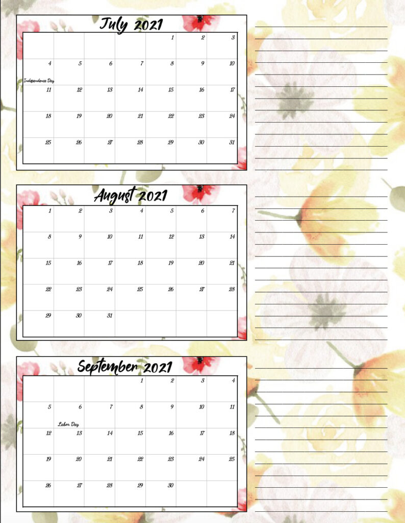 Free Printable 2021 Quarterly Calendars with Holidays: 3 ...