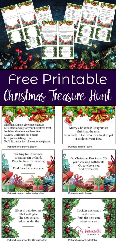 Free printable Christmas treasure hunt for kids. 30 mix-and-match clues. Plus blanks so you can make up your own clues!