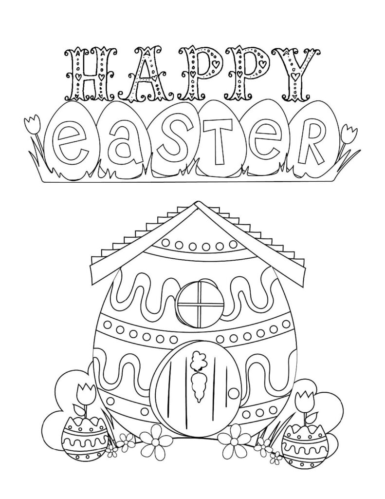 Free printable Easter Coloring Page: Design 6 of 6
