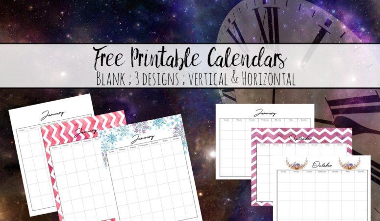 Free Printable Calendars: Black & White, Rainbow, & Holiday-Themed