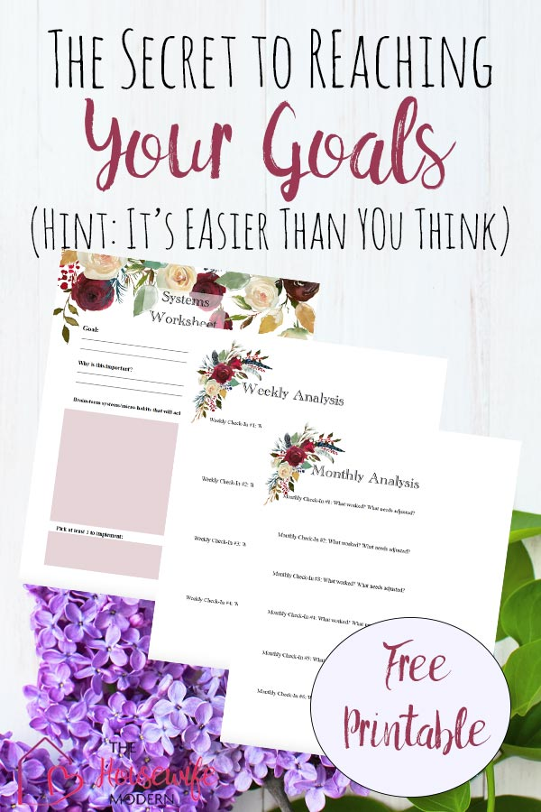 Free Printable: Improve Your Life. How to Use Goals Vs. Systems pin images