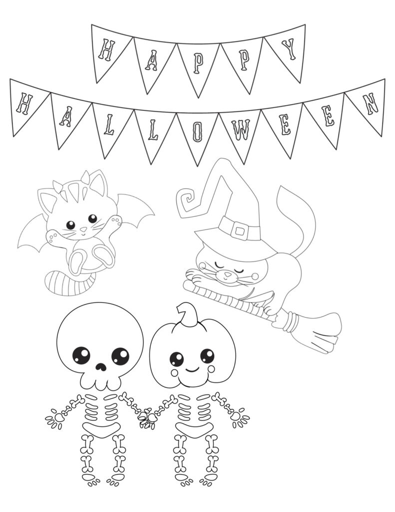 Happy Halloween free printable coloring page. Skeleton and cats coloring page.