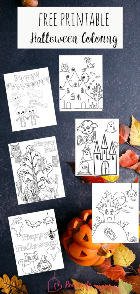 Pin image for free printable Halloween coloring pages.