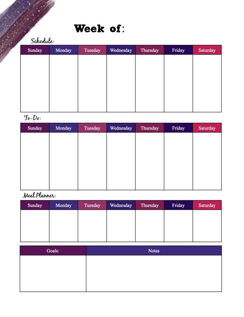 Free printable weekly planner_multi-colored vertical