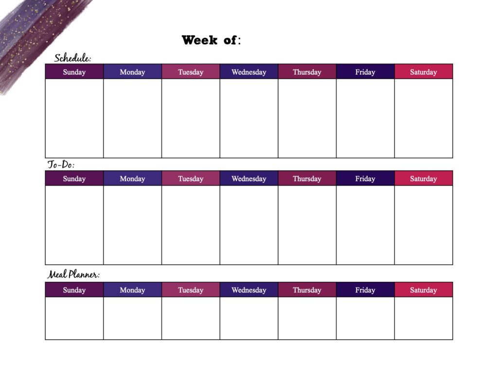 Free printable weekly planner_multi-colored horizontal