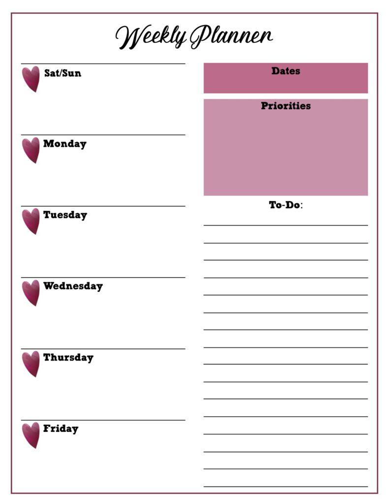 weekly planner pink