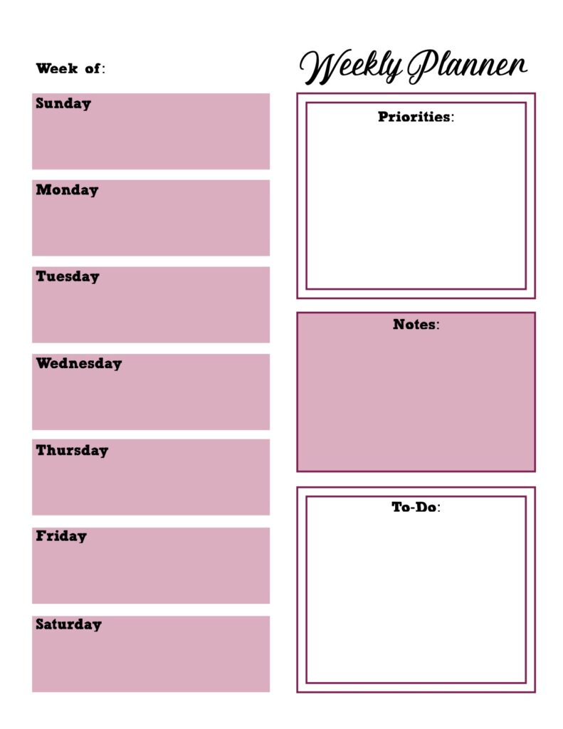 Weekly planner...mostly pink, box design