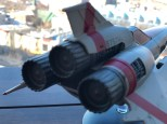 A rear view of the Tylium engines that power the starfighter from Battlestar Galactica.