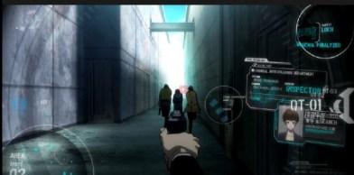 Psycho-Pass 2 Episode #6-Togane pointing his Dominiator at Tsunemori