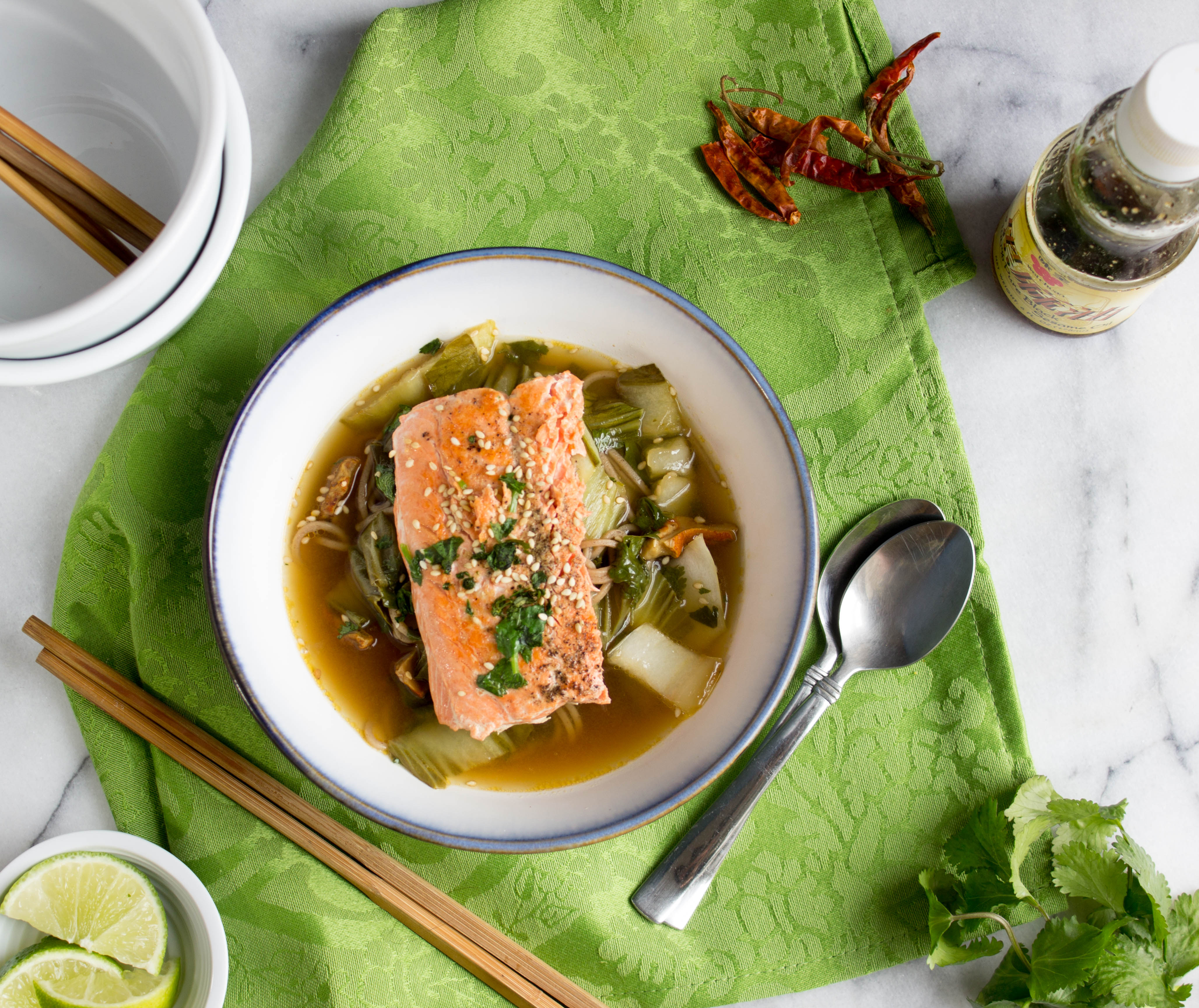 Hot and Sour Salmon Noodle Bowl