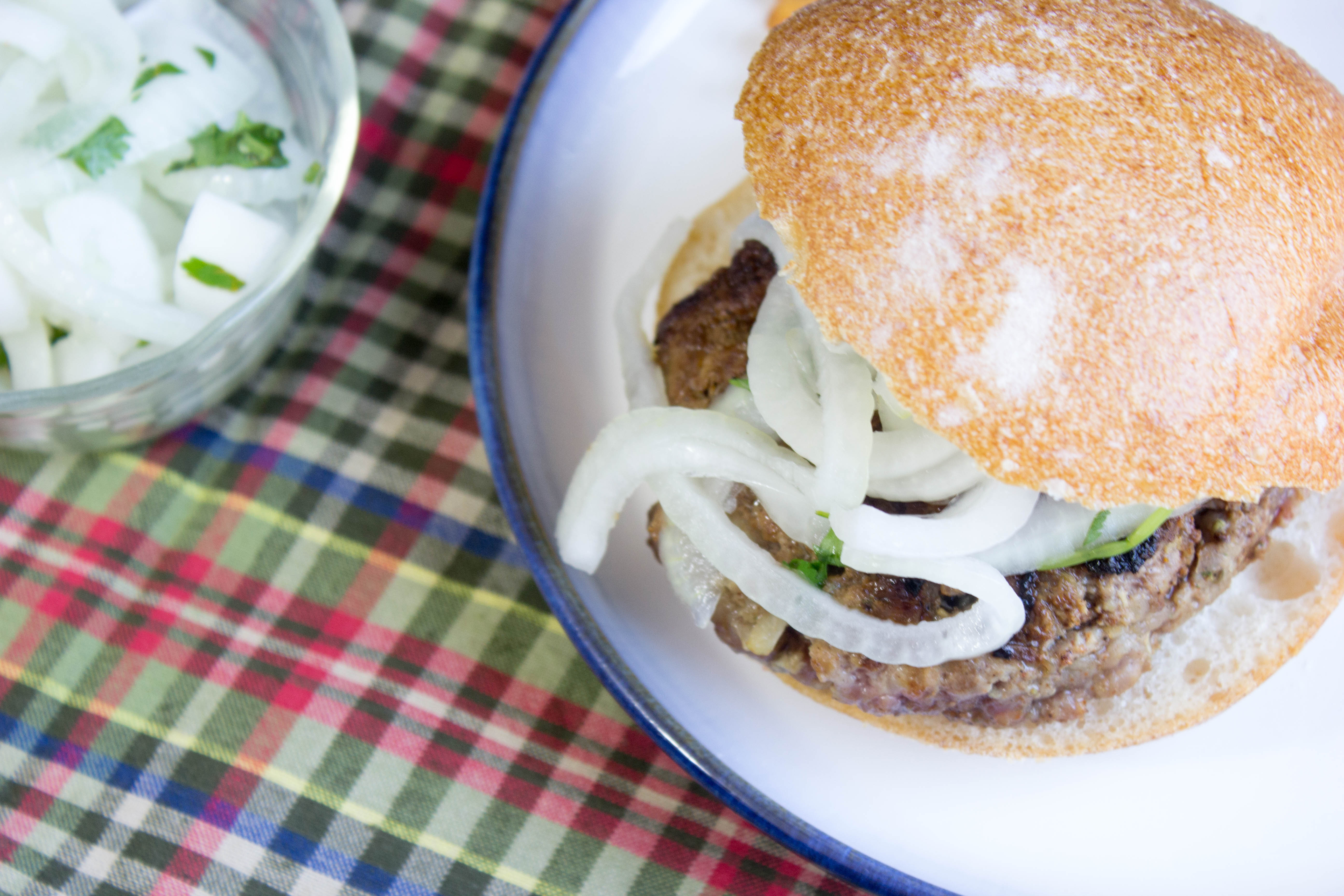Sri Lankan Lamb Burgers with Onion Salad