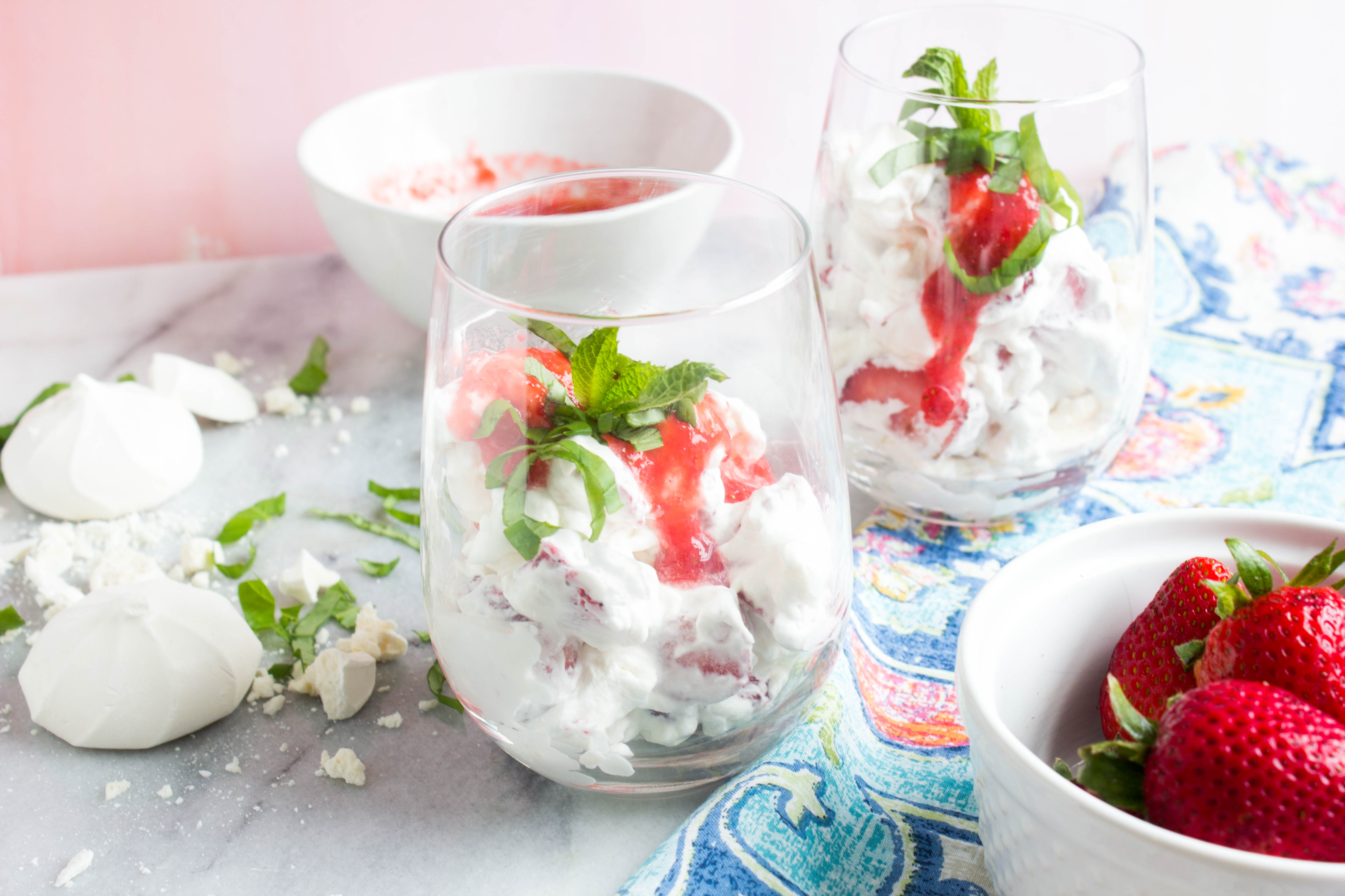 Strawberry Basil Eton Mess