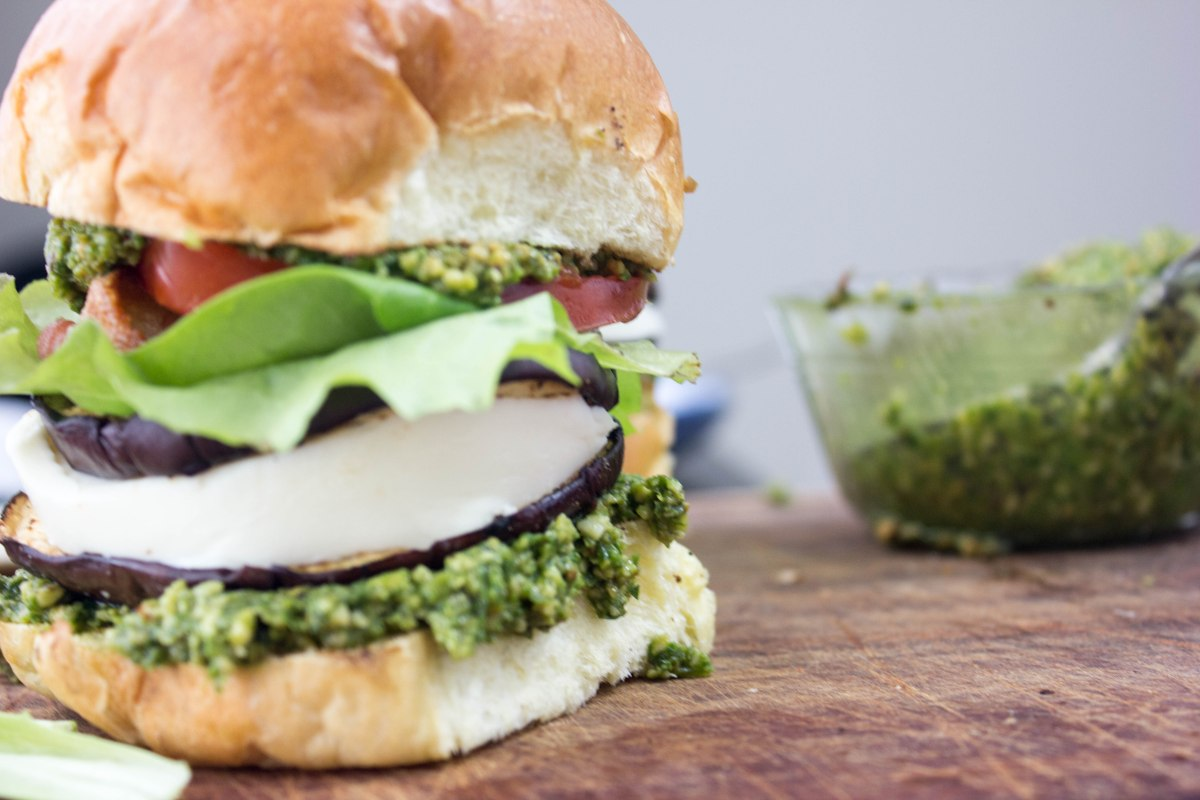Grilled Eggplant Veggie Burgers with Smoky Hazelnut Pesto
