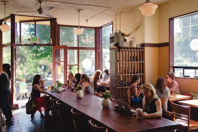 Volunteer Park Cafe on a sunny morning