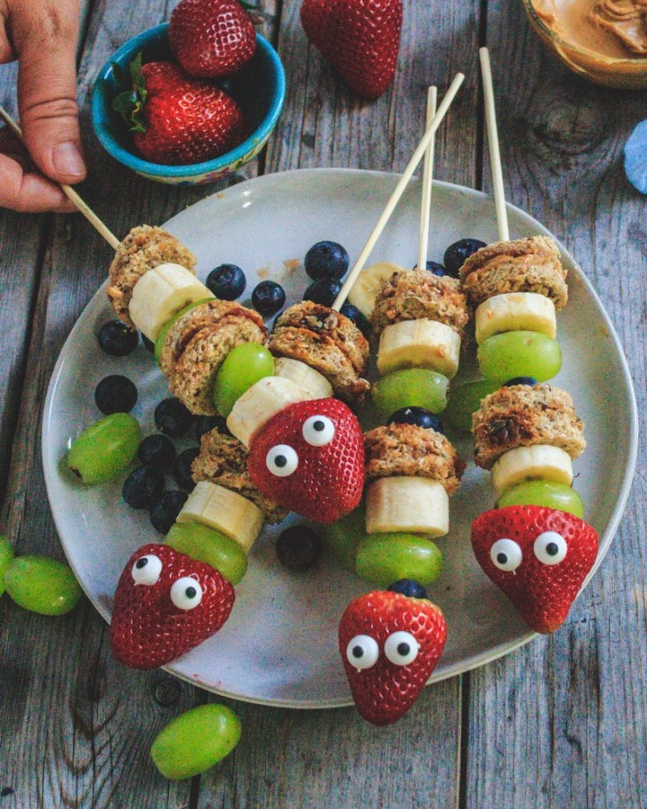 Peanut Butter Jelly Fruity Caterpillar Kebabs
