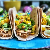 Beer braised chicken tacos with a mango corn and avocado salsa