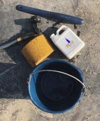 Tools needed: Coat Elixir, sponge, bucket, scraper, water.