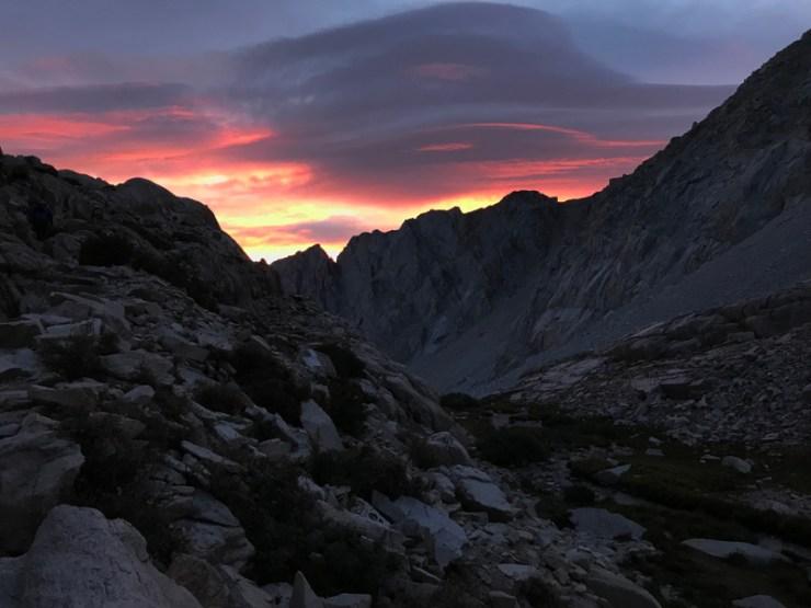 Sunrise on Mt. Whitney Trail.