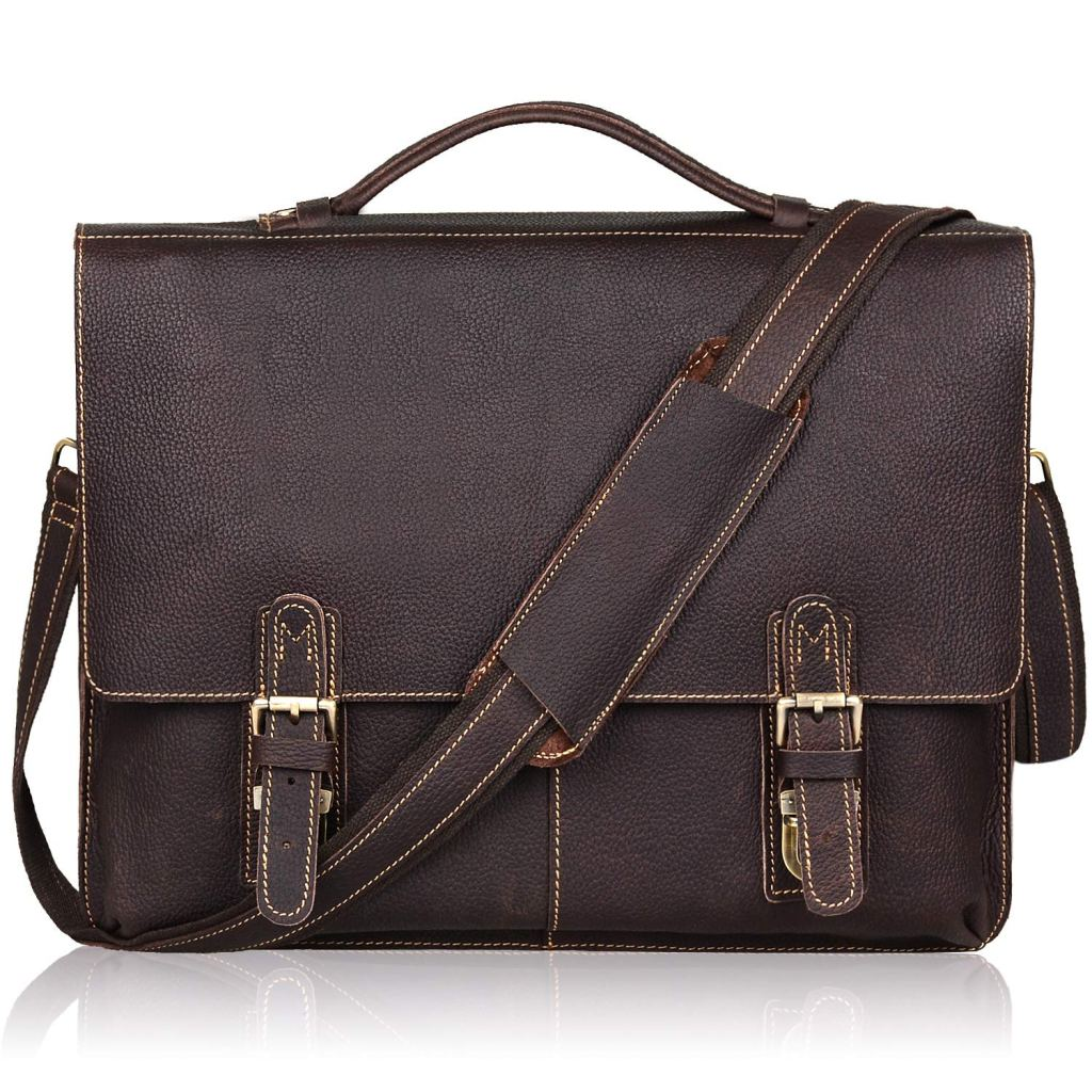 Jack&Chris Leather Briefcase Twin Buckle Men's Messenger Bag