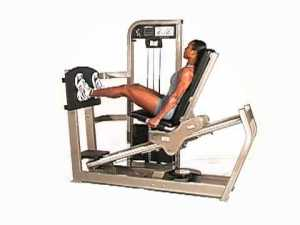 woman doing seated leg press