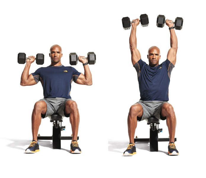 seated overhead dumbbell press shoulders