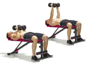 man doing close grip press exercise for upper chest