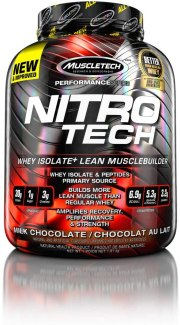 NitroTech Protein Powder Plus Creatine Monohydrate Muscle Builder, 100% Whey Protein