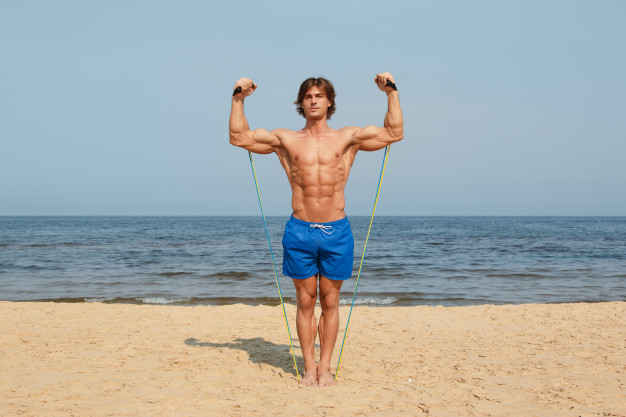 resistance band overhead press exercise