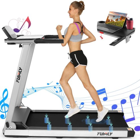 FUNMILY Treadmill, 2.25Hp Folding Treadmills with Large Desk and Heavy Duty Steel Frame
