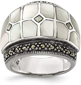 Solid 925 Sterling Silver Marcasite and Mother of Pearl Ring Band