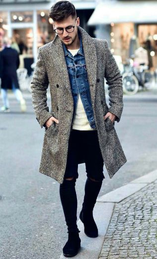 double denim jacket with overcoat style for men