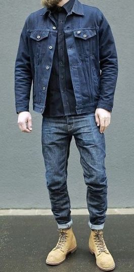 double denim style jacket outfit trend men