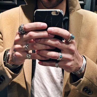 stylish man rings accessories trend