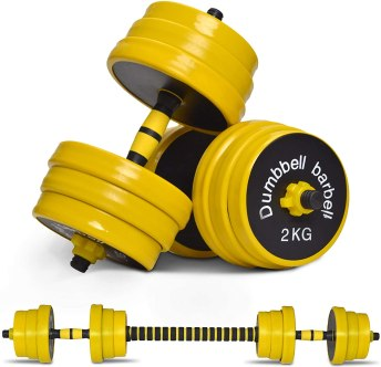 Nice C Adjustable Dumbbell Barbell Weight Pair, Free Weights 2-in-1 Set, Non-Slip Neoprene Hand