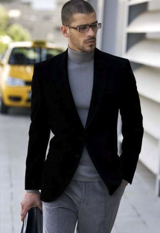 Turtleneck With Velvet Blazer