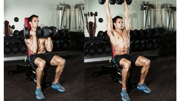 seated arnold chest press exercise
